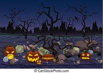 mystère, pierres, vecteur, halloween, illustration, placé, lanternes, forêt, night., citrouille