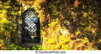 mystère, porte, forêt