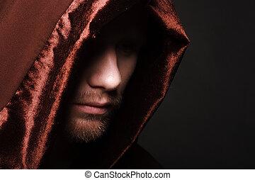 mystère, portrait, robe, unrecognizable, moine