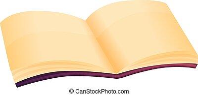 mystère, style, livre, icône, ouvert, dessin animé