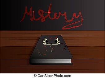 mystère, vecteur, cerf, livre, illustration