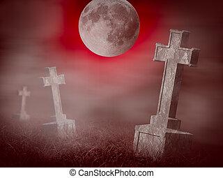 mystère, vieux, cimetière, à, a, groupe, de, croix, pierres...