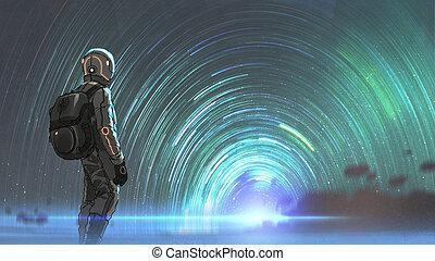 mystérieux, étoilé, entrée, tunnel