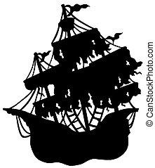 mystérieux, bateau, silhouette