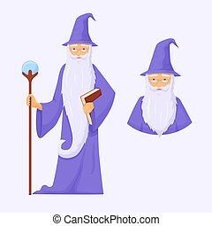 mystérieux, beard., magicien, magie, long, avatar., guerre, mage, gris, connaisseur, puissant