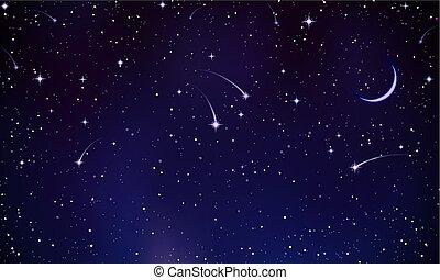 mystérieux, comètes, ciel, nuit