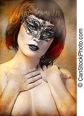 mystérieux, femme, à, artistique, style, masque vénitien