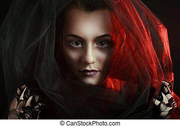 mystérieux, femme, portrait., beau, modèle, visage femme, closeup