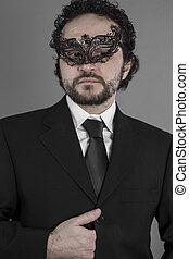 mystérieux, homme affaires,  agent, masque,  sexy
