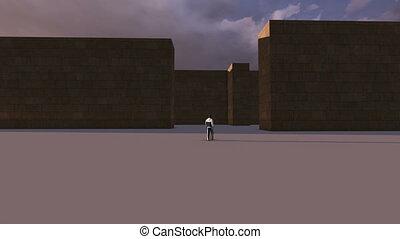 mystérieux, labyrinthe, marche, unique, homme