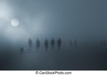 mystérieux, marche, brouillé, gens