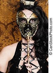mystérieux, mascarade, -, sexy, vixen, à, masque vénitien