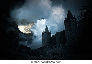 mystérieux, moyen-âge, château