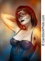 mystérieux, sexy, femme, à, artistique, style, masque vénitien
