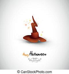 mystérieux, sorcière halloween, chapeau