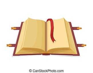 mystérieux, vide, livre, magie, open., moyen-âge, ...