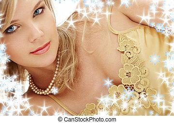 mystérieux, yeux bleus, perles, blonds