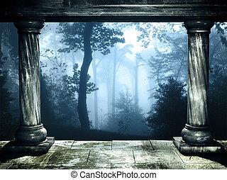 mysteriös, neblig, wald, landschaftsbild