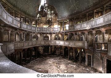 mysteriös, ruinen, von, der, theater, hdr