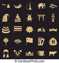 Mysteries of Asia icons set, simple style