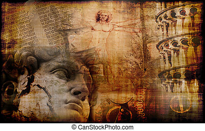 Mysteries of Italy - Grunge background with mysterious...