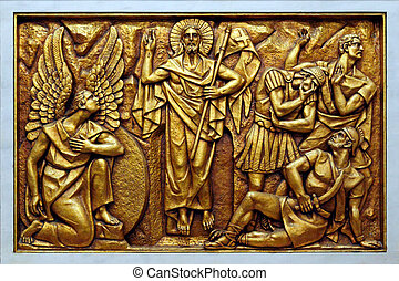 Mysteries of the Rosary - One of the golden bas-relief of...