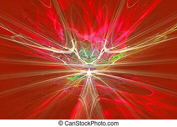 mysterieus, alien, vorm, magnetisch, velden, in het rood, sky., fractal, kunst, grafiek