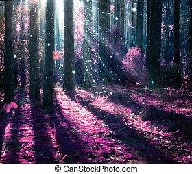mysterieus, fantasie, oud, bos, landschap.