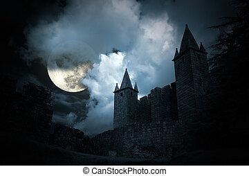 mysterieus, kasteel, middeleeuws