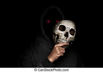 mysterieus, masker, schedel, man