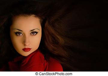 mysterieus, mooi, woman., dekking