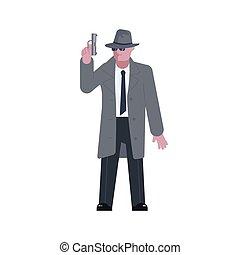 mysterieus, pistool, man