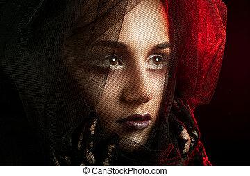 mysterieus, vrouw, portrait., mooi, model, vrouw confronteren, closeup