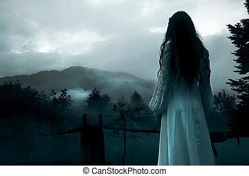 mysterieus, witte , vrouw, jurkje