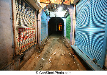mysterious alleyway in paharganj, delhi, india