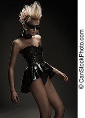 Mysterious blonde girl posing