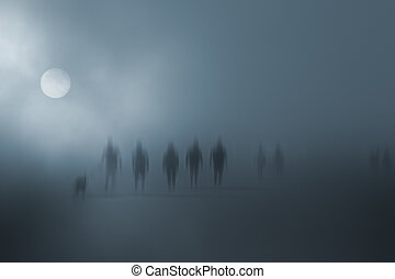 Mysterious blurred people walking