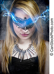 Mysterious brunette woman in lingerie, blue halo coming out of the eyes