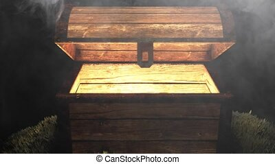 Mysterious chest in a cave with money and gold. Hidden treasure