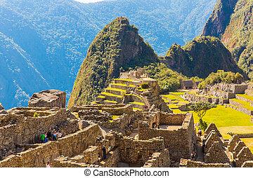 Mysterious city - Machu Picchu, Peru,South America. The Incan ruins. Example of  polygonal masonry and skill