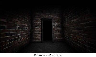 Mysterious door in the dark corridor. Forbidden door. -...