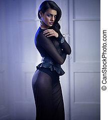 Mysterious elegant woman wearing evening dress - Mysterious...