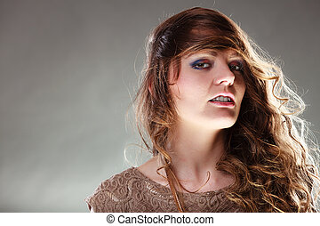 Mysterious enigmatic attractive woman girl.
