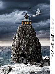 Mysterious fantasy house on a rock island in sea