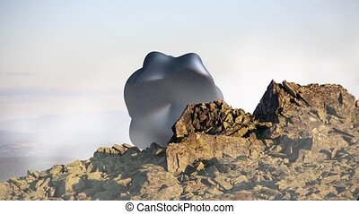 Mysterious floating object, UFO over the mountain landscape....