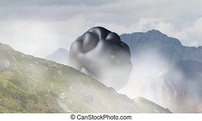 Mysterious floating object, UFO rotating over the mountain...