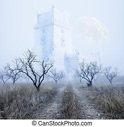 Mysterious foggy landscape - Mysterious foggy scenery.Castle...