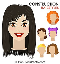 Mysterious girl. Woman face constructor. Cartoon style.