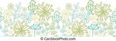 Mysterious green garden horizontal seamless pattern background border