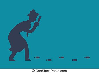 Mysterious investigator detective is following footprints vector illustration